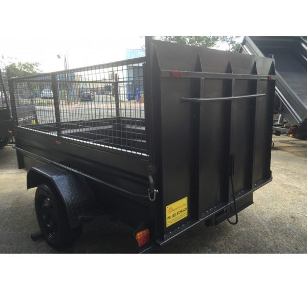 8×5 Box Trailer High Side with Ramp and Cage