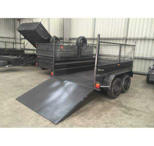 8×5 Tandem Box Trailer High Side Ramp with Cage 600mm